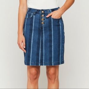 Velvet Heart Denim midi skirt Menna stripe NWT